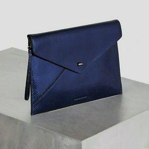 BCBGMaxAzria Kassandra metallic leather clutch NWT